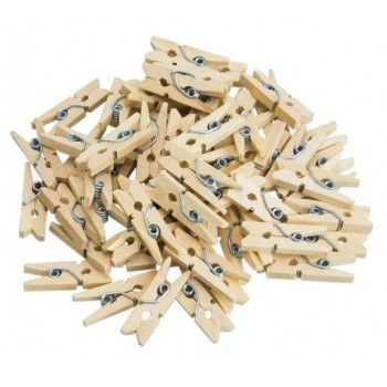 Klamerki 100szt drewniane mini spinacze naturalne