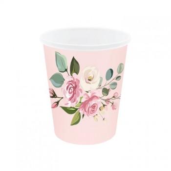 Kubeczki 6szt różowe różyczki kwiaty