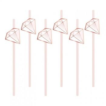 Słomki 6szt diamenty rurki kryształy różowe