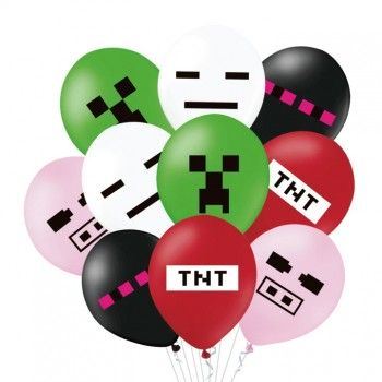 Balony MINECRAFT piksele gamingowe mix 10szt
