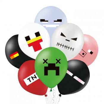 Balony MINECRAFT piksele gamingowe mix 8szt