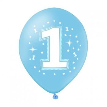 Balon na ROCZEK 1szt niebieski gwiazdki