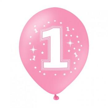Balon na ROCZEK 1szt różowy gwiazdki