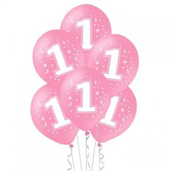 Balony na ROCZEK 6szt różowe dla dziewczynki