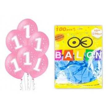 Balony 100szt na ROCZEK różowe dla dziewczynki