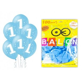 Balony 100szt na ROCZEK niebieskie dla chłopca