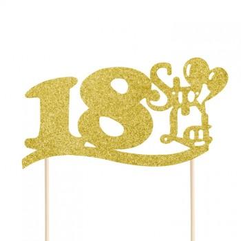 """Topper na 18 urodziny """"18 Sto Lat"""" brokatowy złoty"""