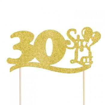 """Topper na 30 urodziny """"30 Sto Lat"""" brokatowy złoty"""