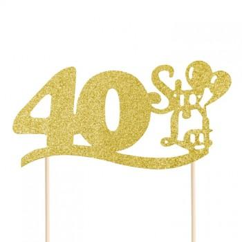 """Topper na 40 urodziny """"40 Sto Lat"""" brokatowy złoty"""