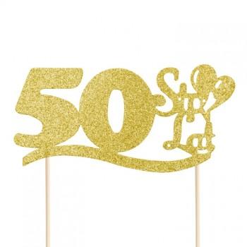 """Topper na 50 urodziny """"50 Sto Lat"""" brokatowy złoty"""
