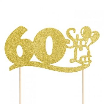 """Topper na 60 urodziny """"60 Sto Lat"""" brokatowy złoty"""