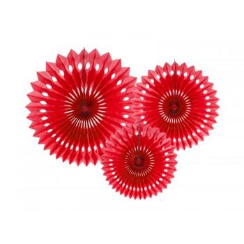 Rozety bibułowe dekoracyjne 20-30cm Czerwony 3szt