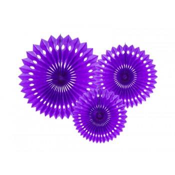 Rozety bibułowe dekoracyjne 20-30cm Fiolet 3szt