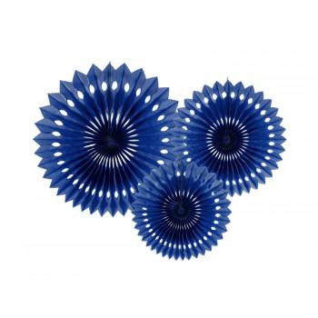Rozety bibułowe dekoracyjne 20-30cm Granat 3szt