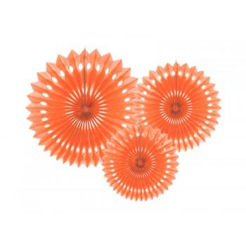 Rozety bibułowe dekoracyjne 20-30cm Brzoskwinia 3szt