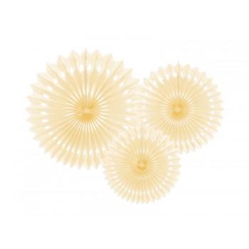 Rozety bibułowe dekoracyjne 20-30cm Jasny kremowy 3szt