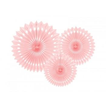 Rozety bibułowe dekoracyjne 20-30cm Jasny pudrowy róż 3szt