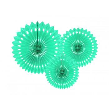 Rozety bibułowe dekoracyjne 20-30cm Jasna mięta 3szt
