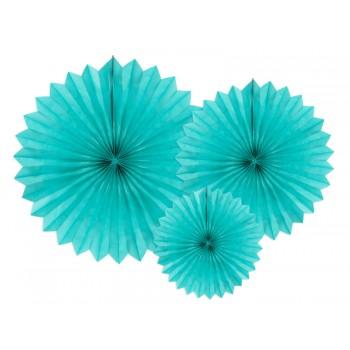 Rozety bibułowe dekoracyjne 20-40cm Malachit 3szt