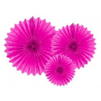 Rozety bibułowe dekoracyjne 20-40cm Ciemny różowy 3szt