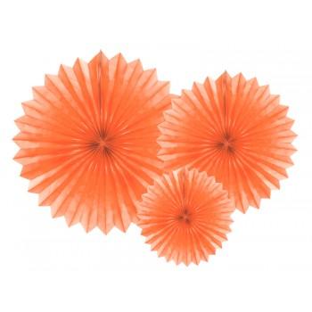 Rozety bibułowe dekoracyjne 20-40cm Brzoskwinia 3szt