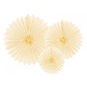 Rozety bibułowe dekoracyjne 20-40cm Jasny kremowy 3szt