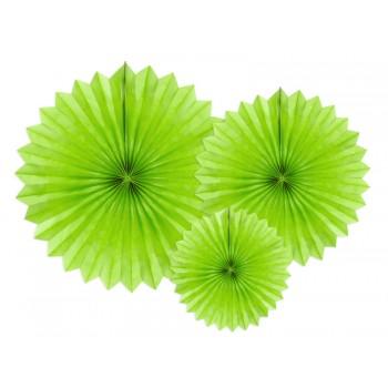 Rozety bibułowe dekoracyjne 20-40cm Zielone jabłuszko 3szt