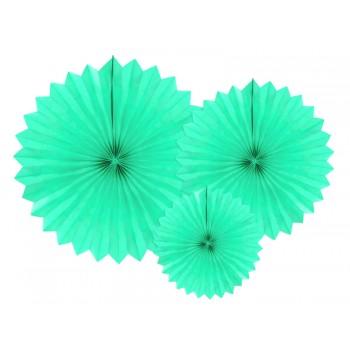 Rozety bibułowe dekoracyjne 20-40cm Jasna mięta 3szt