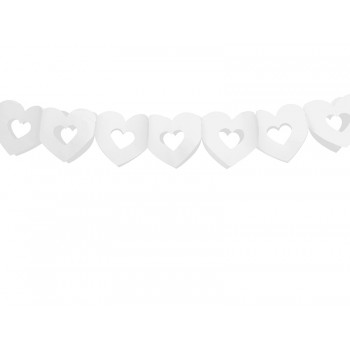 Girlanda bibułowa białe Serca 13cm x 3m