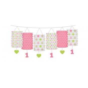 Girlanda z lampionami różowa na Roczek 3,6m