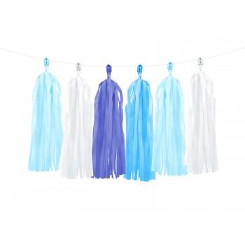 Girlanda biel i odcienie niebieskiego Frędzle 1,5m