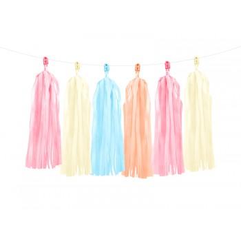 Girlanda mix pudrowych kolorów Frędzle 1,5m
