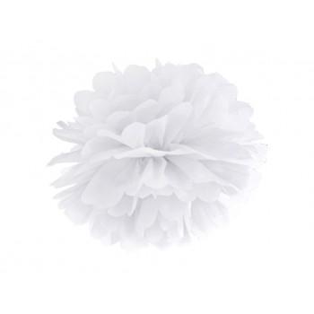 Pompon Bibułowy kolor biały 35cm