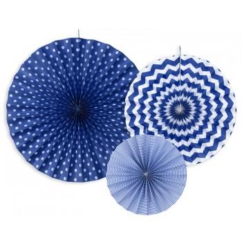 Rozety Papierowe dekoracyjne granatowe 3szt
