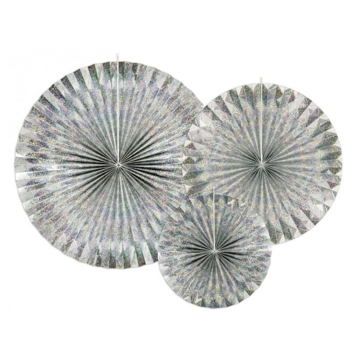 Rozety Papierowe dekoracyjne holograficzne 3szt