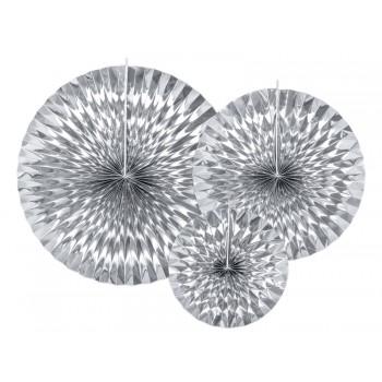 Rozety Papierowe dekoracyjne srebrne 3szt