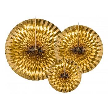 Rozety Papierowe dekoracyjne złote 3szt