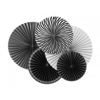Rozety Papierowe dekoracyjne black&white 5szt