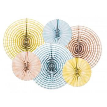 Rozety Papierowe dekoracyjne 'Summer time' 6szt