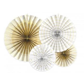 Rozety Papierowe dekoracyjne biel i złoto 4szt