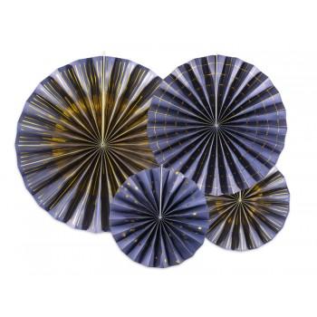Rozety Papierowe dekoracyjne granatowo-złote 4szt