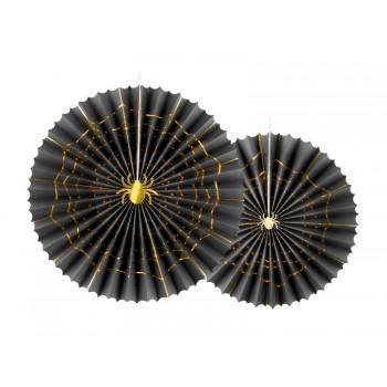 Rozety Papierowe dekoracyjne czarne 'Pająki' 2szt