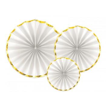 Rozety Papierowe dekoracyjne biało-złote 3szt