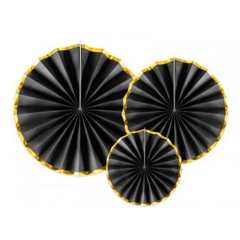 Rozety Papierowe dekoracyjne czarno-złote 3szt