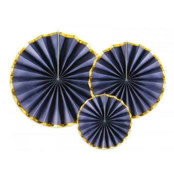 Rozety Papierowe dekoracyjne granatowo-złote 3szt