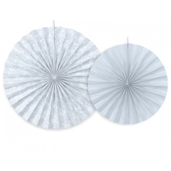 Rozety Papierowe dekoracyjne szaroniebieskie 2szt