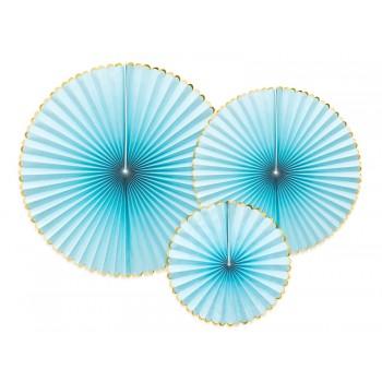 Rozety Papierowe dekoracyjne jasny niebieski 3szt