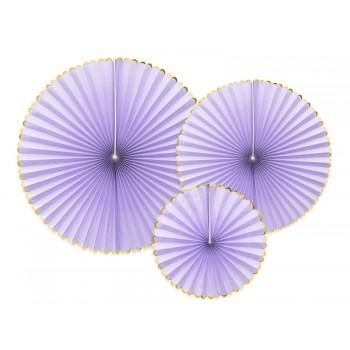 Rozety Papierowe dekoracyjne jasny liliowy 3szt