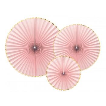 Rozety Papierowe dekoracyjne jasny różowy 3szt