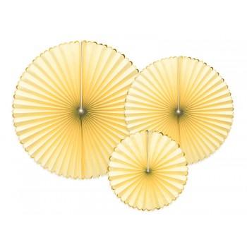 Rozety Papierowe dekoracyjne jasny żółty 3szt